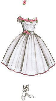 """""""White Ballerina Outfit with Pink Roses"""" [Liana's Paper Doll Blog]"""