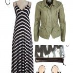 striped maxi dress and military jacket