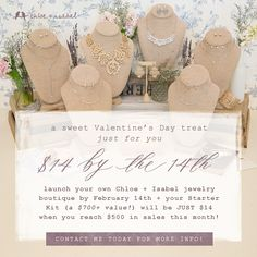 Have you ever thought about having your own chloe+isabel boutique as a merchandiser? Let me tell you, now is the time! We are offering a special to sign up for only $14 until the 14th of this month! Connect with me today because I have a special gift for the first 5 to join my fabulous team! www.chloeandisabelbynicole.com