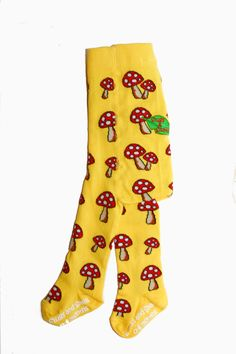 """Fun Guy"" are our most eye popping design yet with bright yellow background and beautiful timeless toadstools you can be sure these tights will always make you smile!    	New improved anti-slip soles. 	New improved stretch giving more room after washing and yarn tightening. 	Our unique embroidered logo on the back panel makes wearing Slugs & Snails without trousers even more funky! 	All our products come packed into Slugs & Snails groovy boxes, perfect for gifts."