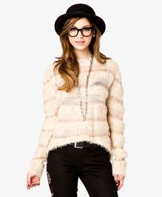 Open Knit Fuzzy Sweater | FOREVER21