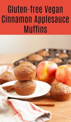 These spice filled muffins are crazy moist thanks to the applesauce in them. These Cinnamon Applesauce Muffins are gluten-free, vegan & Vegan Apple Muffins, Applesauce Muffins, Gluten Free Muffins, Egg Muffins, Breakfast Bake, Best Breakfast, Breakfast Recipes, Breakfast Muffins, Breakfast Healthy