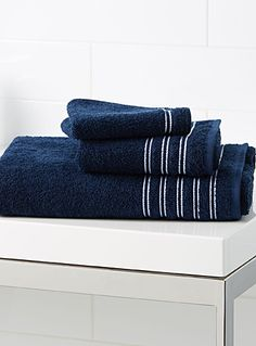 """Cambridge at Simons Maison.  A beautiful collection of towels with minimalist lines in soft and absorbent cotton terry, available in a selection of fashion colours that will perfectly match your decor.      Dimensions   Bath: 30"""" x 56""""  Hand: 16"""" x 30""""  Facecloth: 13"""" x 13"""""""