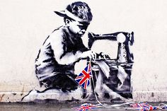 Banksy's Union Jack Child Labour Stencil Chiselled Off The Wall For Auction | Hypebeast