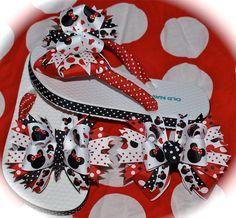 Custom Boutique Girls Disney Summer Spring by UniqueKidsWCharacter Ribbon Flip Flops, Flip Flop Shoes, Girls Flip Flops, Womens Flip Flops, Disney Diy, Disney Girls, Disney Bows, Disney Crafts, Boutique Hair Bows