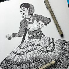 Kathak - one of the many forms of Indian classical dance . The term kathak means he who tells a story and the dance involves… Dancing Drawings, Girly Drawings, Pencil Art Drawings, Art Drawings Sketches, Doodle Art Drawing, Zentangle Drawings, Mandala Drawing, Drawing Ideas, Mandala Artwork