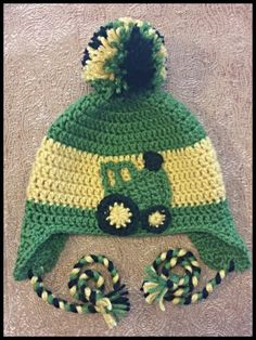 John deere crochet earflap hat with tractor applique (Free Applique Pattern)--  https 99120c48ab7