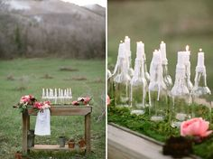 Create an elegant favor station with a garden cart. Add easy-to-make dripping wax bottles for ambiance and softness. Though, if you're going to host a wedding outdoors, you might think about using Hurricane lamps instead, in order to allow the candles to stay lit.