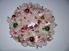 Santa with Reindeer and sleigh deco mesh Wreath by jeaniscreativewreath. Explore more products on http://jeaniscreativewreath.etsy.com