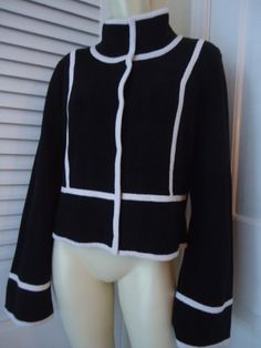WHITE HOUSE BLACK MARKET Cotton Blend Retro Sweater Coat XL White Contrast CHIC!
