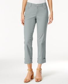 Style & Co Curvy Cuffed Capri Jeans in Regular & Petite Sizes, Created for Macy's - Silver 12P