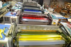 Top view of CMYK colors on our Offset Printing Press Offset Printing, Printing Press, Silk Screen Printing, Letterpress Printing, Top View, Printing Services, Gabriel, Typography, Antique