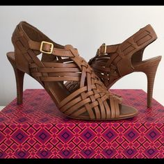 """TORY BURCH NADIA HUARACHE ROYAL TAN SANDAL, SZ 9.5 TORY BURCH NADIA HUARACHE ROYAL TAN SANDAL, SIZE 9.5, LEATHER-WOVEN STRAPS WITH AND ADJUSTABLE ANKLE STRAPS FASTENED BY A GOLDEN BUCKLE, LEATHER FOOTBED AND SOLE, COVERED HEIGHT HEEL 3.5"""", BRAND NEW WITH BOX AND DUST BAG Tory Burch Shoes Heels"""