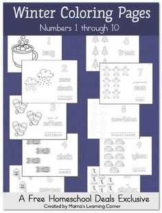 Free Winter Coloring Pages: Numbers 1 through 10