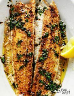 Pan Spicy Flounder Recipe- Tavada Baharatlı Dil Balığı Tarifi Recipe of Flounder with Frying Pan in Butter - Shellfish Recipes, Seafood Recipes, Buffalo Wings, Fat Peach, Nachos, Flounder Recipes, Ravioli, Crock Pot, Juice Recipes