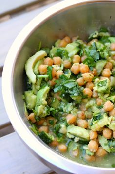 Chickpea, Coriander, Avocado & lime salad - from Tenina.com - switched lime for lemon (cos I got bags of em) and sprinkled some finely chopped cherry tomatoes on the top - amazing. Fresh.
