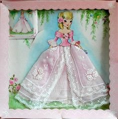 Vintage pink lace hanky in original box.  Hankie is attached to a paper doll card.