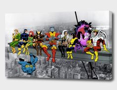 X-Men Lunch Atop A Skyscraper Wall Art The X-Men take a break from saving the universe high above New York. Available as a Mounted Canvas or an Art Print /Poster The X-Men take a break from saving the universe high above New York. Marvel Gifts, Superhero Gifts, Superhero Poster, Superhero Characters, Marvel Wall Art, Marvel Canvas, Canvas Wall Art, Canvas Prints, Art Prints
