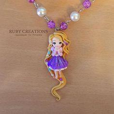 Rapunzel :) #rapunzel #tangled #disney #cartoon #polymerclay #clay #fimo #design #jewelry #necklace #pendant #beads #purple #cute #chibi #kawaii #movie #zlatokosa #instagood #instalike #art #handmade #craft #croatia #rubycreations
