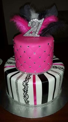 Hot pink and black party cake