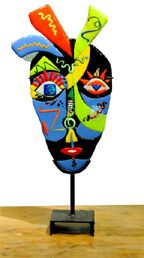 fused glass display stand masks