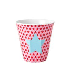 Small Melamine Cup with Girls Star Print - Pink - Red