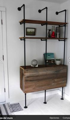 Reclaimed Wood & Pipe Shelving Unit Mid Century by Hindsvik. Storage in base? Wood Shelving Units, Wood Shelves, Metal Shelving, Industrial Shelving, Floating Shelves, Pipe Furniture, Furniture Design, Furniture Vintage, Industrial Furniture