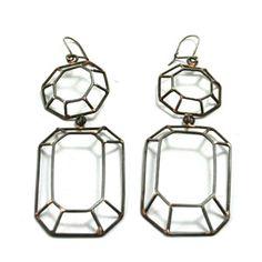 """""""No pressure Diamond Earrings"""" Anne Fiala.. oxidized sterling wire."""