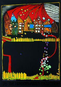 Houses in the Snow Print by Friedensreich Hundertwasser at Art.com