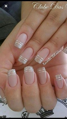 nails - NagelDesign Elegant ( Maravilhosa Caroline Fo ) caroline elegant manicure maravilhosa na Square Nail Designs, French Nail Designs, Nail Polish Designs, Nail Art Designs, Nails Design, Elegant Nail Designs, Cute Nails, Pretty Nails, My Nails