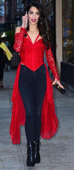 Amal Clooney in vintage Isabella Allard attends a party at Anna Wintour's house in NYC. #bestdressed