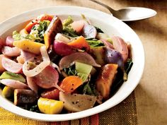 Braised Root Vegetables and Cabbage with Fall Fruit | Gently cooking fruit and vegetables in chicken broth makes them surprisingly delicious.