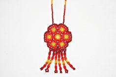 Huichol Necklace Beaded Necklace Peyote by BiuluArtisanBoutique