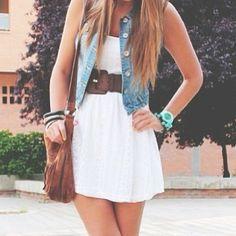 Denim vest and white dress..very cute!