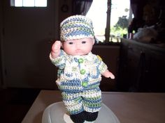 "Soldier Doll #12  More can be seen on Pinterest under Jana Langley Berenguer 5"" Dolls with crocheted outfits"