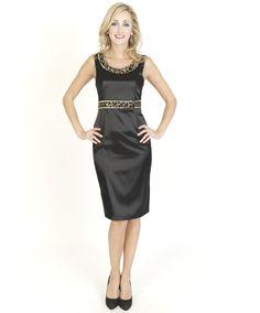 Black Dresses - Satin Sequin Trim Shift Black Dress - http://www.blackdresses.co.uk