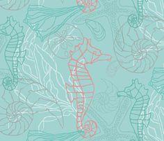 Seahorses & Seashells in Blue/Green Tones fabric by lauriekentdesigns on Spoonflower - custom fabric Coastal Wallpaper, Seahorses, Perfect Wallpaper, Design 24, Custom Wallpaper, Seashells, Textured Walls, Installation Art, Custom Fabric