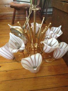 1950s-Vintage-Venetian-Murano-Glass-Chandelier-10-Calla-Lily-Shade-Lighting-Lamp