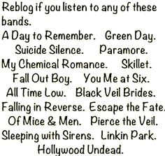 green day, skillet, Hollywood undead, fall out boy, black veil brides, falling in reverse linkin park