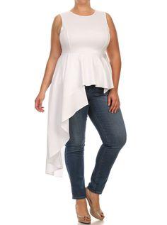 Plus Size Gala Asymmetrical White Maxi Shirt Dress, Plus Size Clothing, Club Wear, Dresses, Tops, Sexy Trendy Plus Size Women Clothes