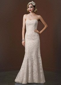 Polished and refine this strapless sequin wedding dress is the definition of effortless beauty! Galina Signature Style SWG605 #davidsbridal #laceweddings