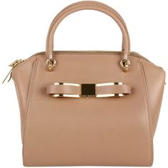 TED BAKER Womens Mutli Colour Metal Bow Mini Bowler Leather Bag found on Polyvore
