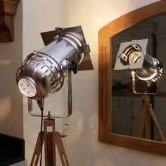 Retro Theatre Lamp on Tripod - Long Spotlight Model - Polished