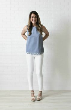 J. Crew chambray shirt in tall // Gap white jeans in long // red ...