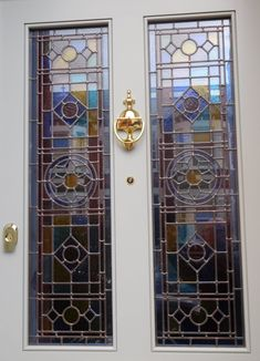 Stained Glass Door, Stained Glass Panels, Stained Glass Patterns, Leaded Glass, Painted Front Doors, Glass Front Door, Glass Doors, Victorian Front Doors, Victorian Homes