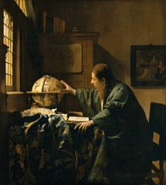 Johannes Vermeer: De astronoom. 1668. Louvre, Parijs. Geinspireerd op Gerard Dou: Astronoom in een venster. 1657. Vermeer nam over: het onderwerp en mogelijk de naar boven gerichte blik van de man.