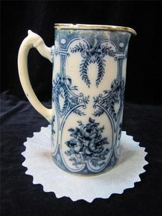 Wonderful Old Flow Blue Eartheware Pottery Pitcher Made In England