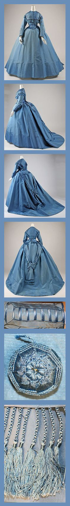 Dress Depret (French) Date: ca. 1867 Culture: French Medium: silk Dimensions: Length at CB (a): 14 in. (35.6 cm) Length at CB (b): 63 in. (160 cm) The Met.