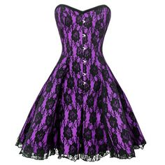 This corset dress is great quality and the skirt is an extension of the bodice. This item has plenty of volume with its broad, flared cut which gives a great emphasis to the curve effect from the steel boning. Why not put this item on and take it out dancing!  The bold purple fabric has a beautiful black lace overlay in flower pattern laid on top. Pair this dress with some lacy stockings.