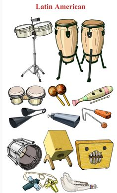 MusicArt LATINOAMÉRICA I (Up/Down, left to right.) 1.-Timbales: membranophone / drum 2.- Congas: membranophone / drum. 3.- Bongo: membranophone / drum. 4.- Maracas: Rattle 5.- Güiro: idiophone 6.- Agogo bells: idiophone 7.- Cow bell: idiophone 8.- Vibraslap: idiophone. 9.- Cuica: membranophone / drum. 10.- Cajón: idiophone 11.- Marimbula: idiophone (Cuba) 12.- Samba whistle (apito) aerophone / air reed 13.- Quijada (jawbone): idiophone / jawbone of donkey. (Mt)